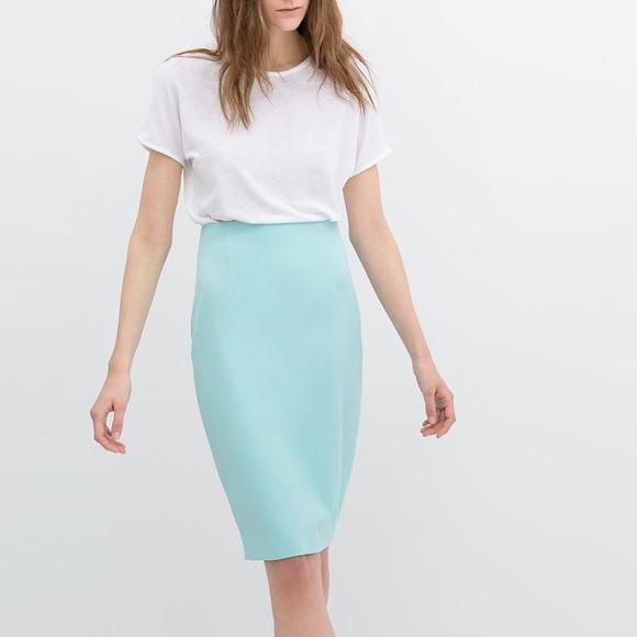 shop for nice shoes multiple colors Zara Blue Midi Pencil Skirt NWT NWT